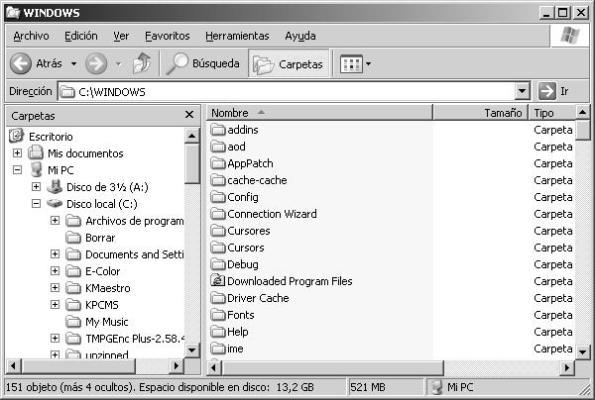 El Explorador de Windows en Windows XP y anteriores